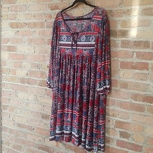 Reborn Charcoal and Red Floral Tunic Dress